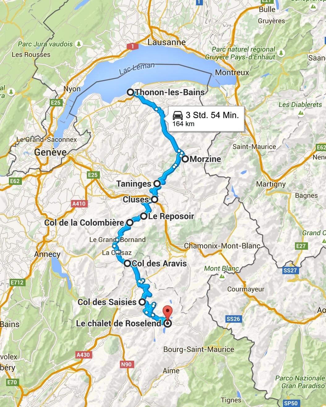 Der erste Abschnitt auf der Route des Grandes Alpes führt von Thonon-les-Bains bis nach Le Reposoir. Screenshot © Google