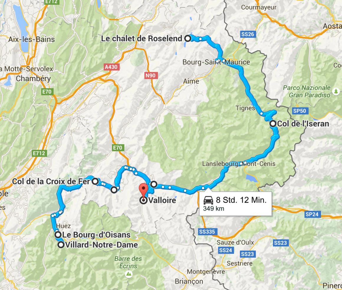 An Tag 4 fahren wir von Roselend über den Col de l´Iseran auf der kühnsten Alpenstraße bis nach Villard-Notre-Dame und zurück nach Valloire. Screenshot © Google