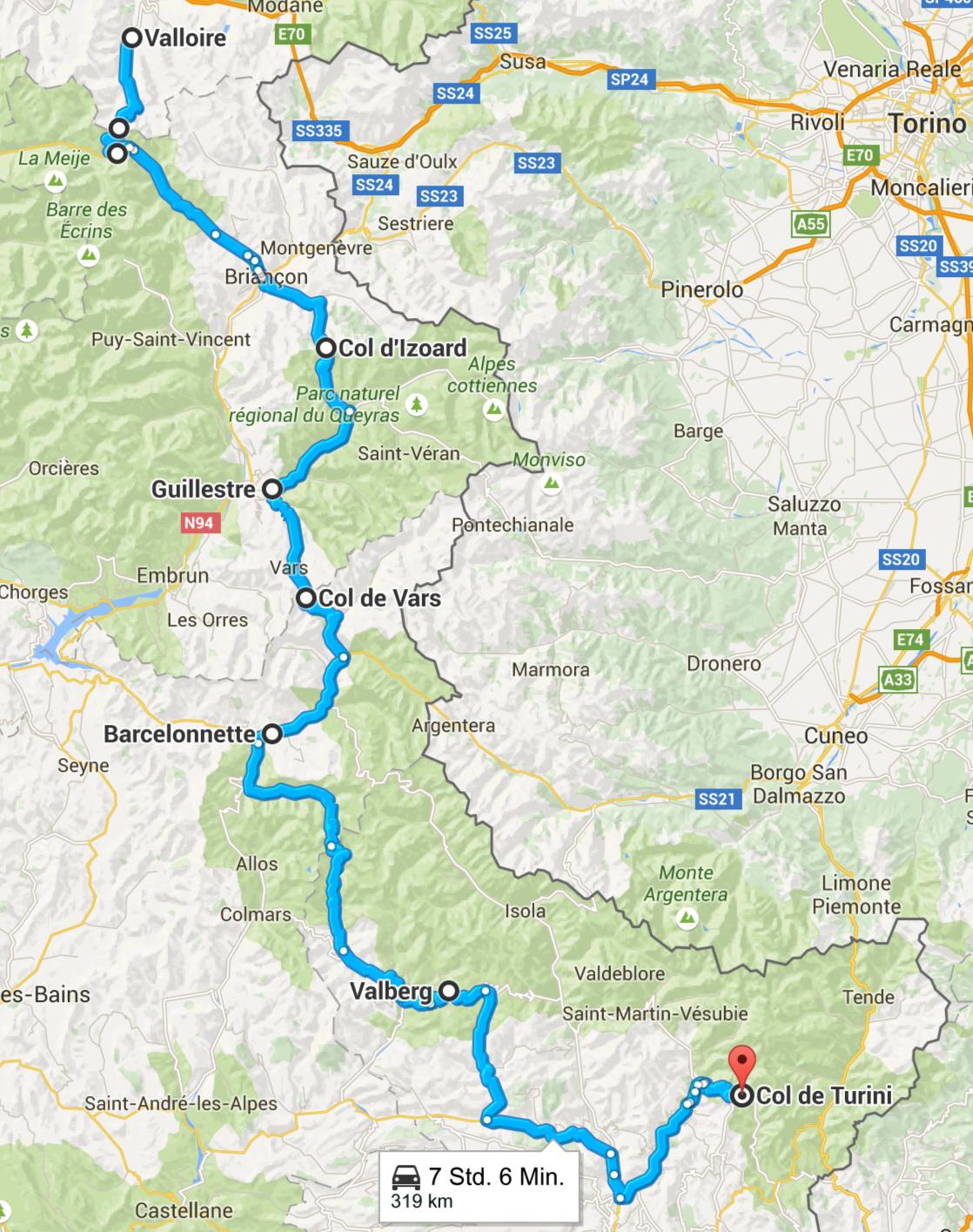 An Tag 5 fahren wir von Valloire über den Col d´Izoard und den Col de Vars durch das Örtchen Barcelonette und von dort auf den Col de Turini. Screenshot © Google