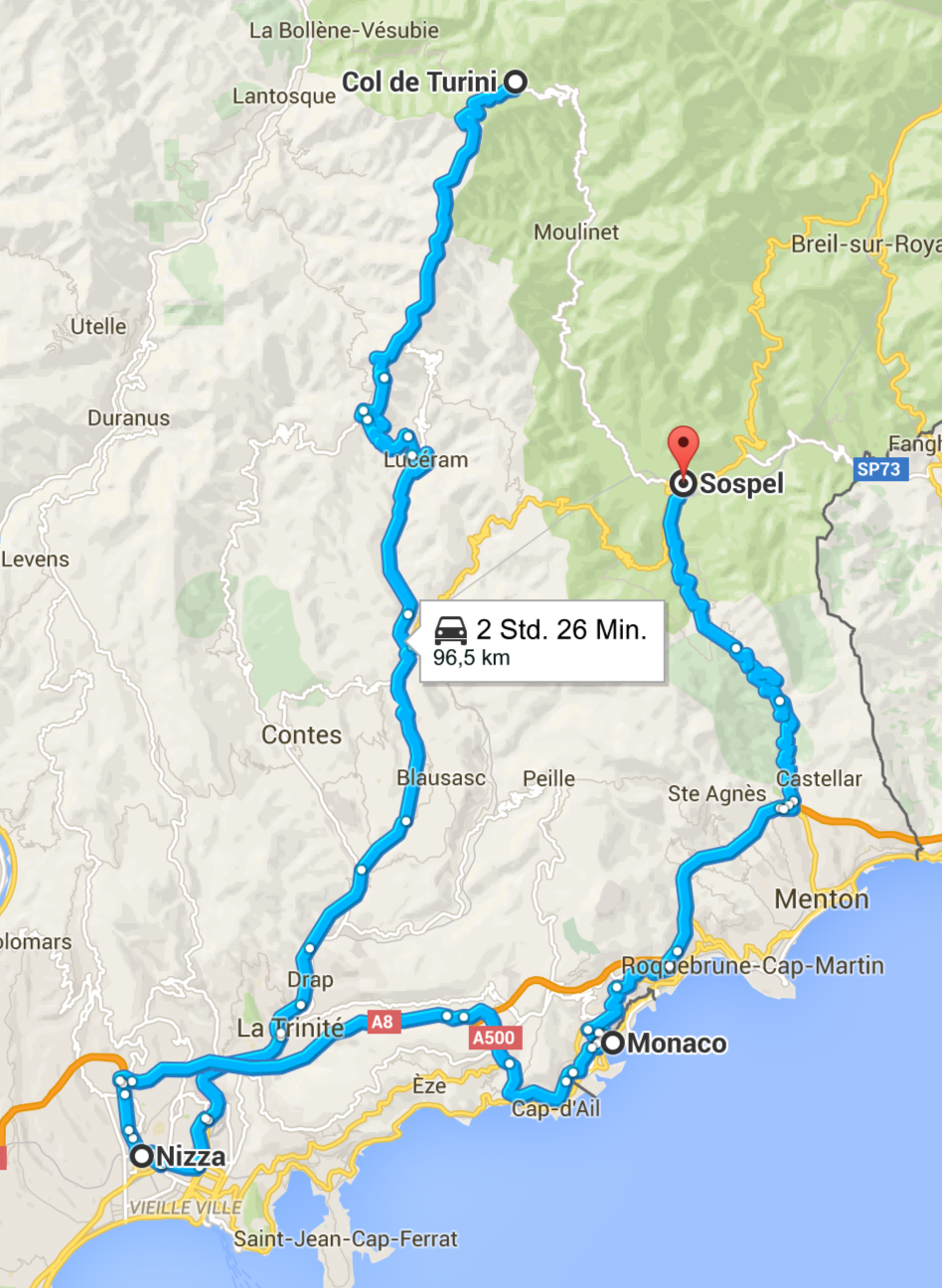 Vom Col de Turini über Nizza und Monaco nach Sospel.