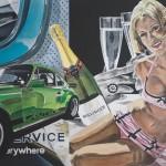 Diese Collage mit einem grünen Porsche Carrera war eine Auftragsarbeit und befindet sich in einer Privatsammlung.