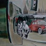 Die Eltern von Aaron Vidal Martinez spiegeln sich hier im Chrom der Stoßstange ihres Renault 8. Das sehr persönliche Bild war ein Geschenk für die Eltern.