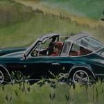 Für diesen Ausflug ins Grüne mit einem Porsche Targa ließ sich Vidal von dem Deckblatt der Christophorus-Ausgabe von Juni 1973 inspirieren.
