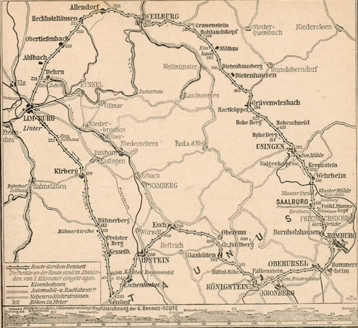 Streckenverlauf des Gordon-Bennett-Cup – damals und heute. Diese Runde musste 1904 viermal gefahren werden.